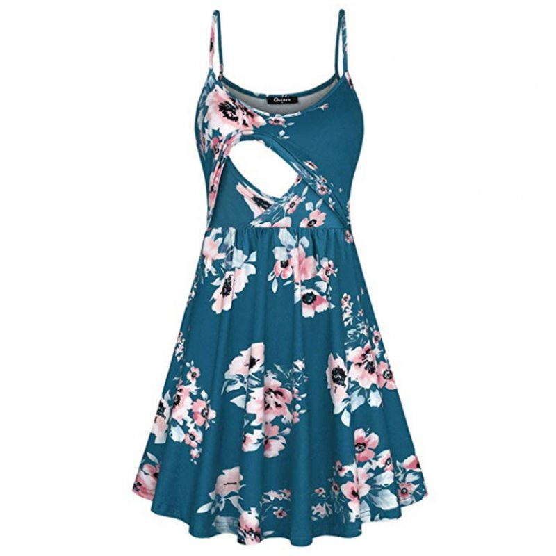 Fashion Flower Print Spaghetti Strap Nursing Maternity Dress for Breastfeeding blue-green_M