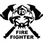 Fashion Fun Firefighter Occupation Car Funny Sticker black