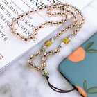 Fashion Hand woven Mobile Phone Chain Blue White Porcelain Crystal Shiny Pendant  Gold