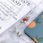 Fashion Hand woven Mobile Phone Chain Blue White Porcelain Crystal Shiny Pendant  Transparent color