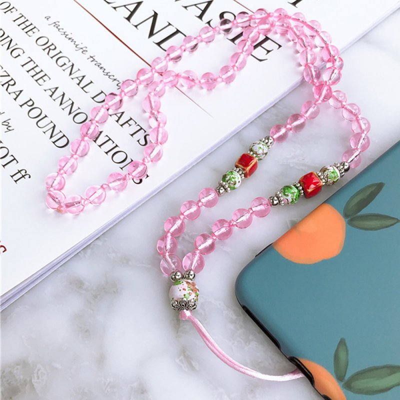Hand-woven Mobile Phone Chain Pendant Pink