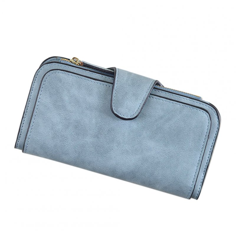 Fashion Leisure Ladies Leather Clutch Wallet Buckle Envelope Package  blue