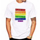 Fashion Lesbia Rainbow Pattern Summer Cool Lovers Casual Loose T-shirt White 10_L