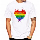Fashion Lesbia Rainbow Pattern Summer Cool Lovers Casual Loose T-shirt White 1_L