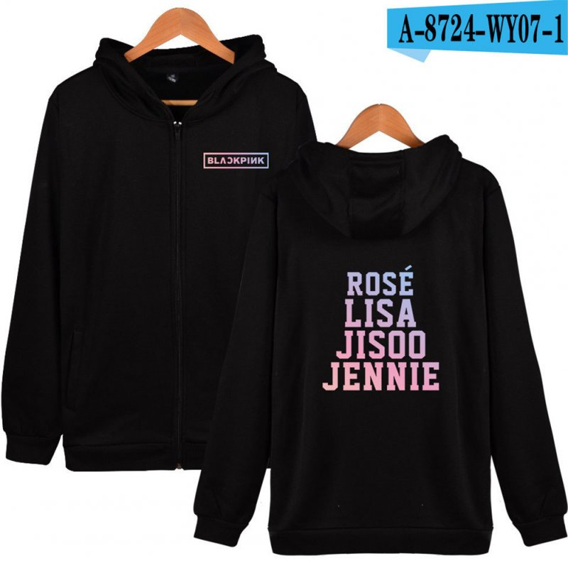 Fashion Loose Chic All-matching Black Pink Girl Band Unisex Hoodies Black_XXXL