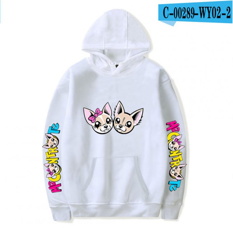 Fashion Me Contro Te Printing Hooded Sweatshirts D white_L