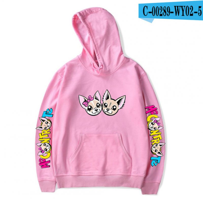 Fashion Me Contro Te Printing Hooded Sweatshirts D pink_XL