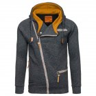 Fashion Men Casual Slanted Zipper Hooded Tops black grey_M
