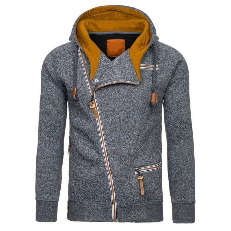 Fashion Men Casual Slanted Zipper Hooded Tops Dark gray_M
