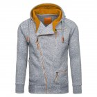Fashion Men Casual Slanted Zipper Hooded Tops light grey_2XL