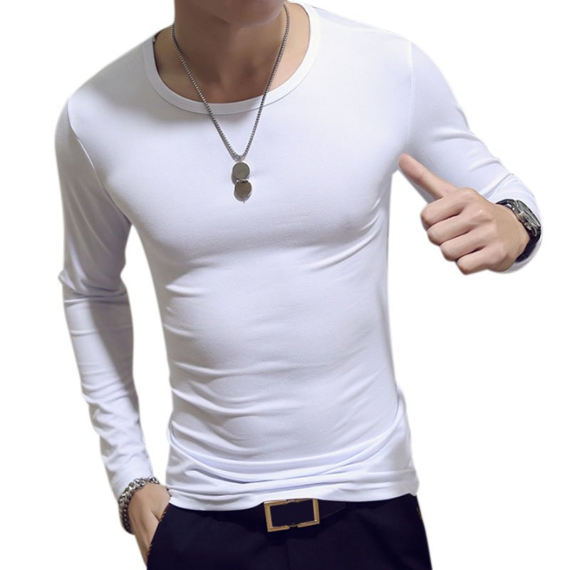 Fashion Men Long Sleeve Shirt Soft Slim T-shirt Concise Solid Color Tops  white round neck_M