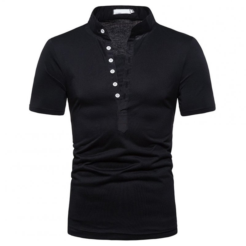 Fashion Men Slim Fit V Neck Short Sleeve Muscle Tee T-shirt  black_L