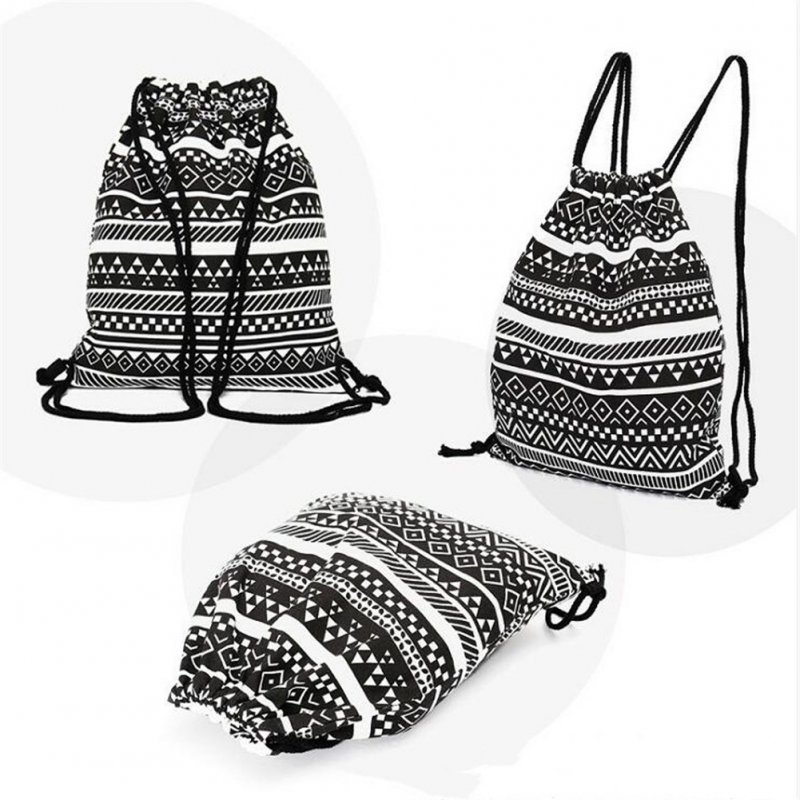Fashion National Style Canvas Drawstring Backpack Bag black_38.5*33cm