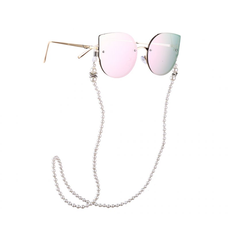 Fashion Nonslip White Pearl Beads Alloy Eyeglass Chain for Glasses Accessories white