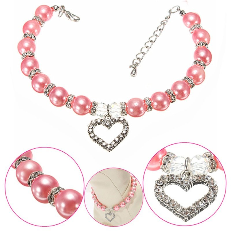 Fashion Pet Puppy Dog Cat Piggy Pearl Necklace Pendant Pet Accessories Dogs Cats Collar