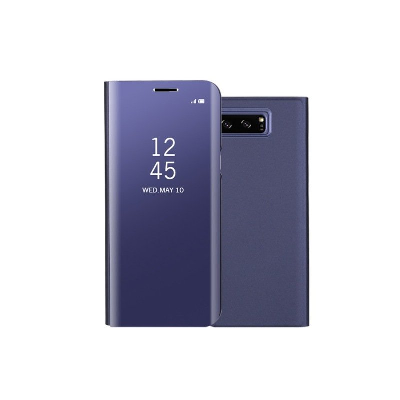 Fashion Shockproof  Ultra Thin Electroplating PU Case Cover Mirror Free Flip Anti-scratch Protective Case for Samsung Galaxy Note 8 Purple blue