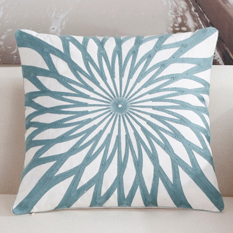Fashion Simple Blue Throw Pillow Cover for Office Sofa Chair Car Use C Embroidered Flower Heart - Blue_45*45cm individual pillowcase