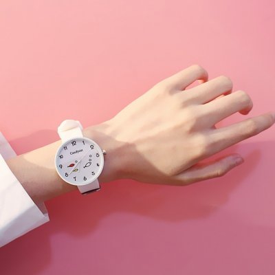 Fashion Simple Bright Colors Sweet Style Elagant Watch with Silica Gel Strap white