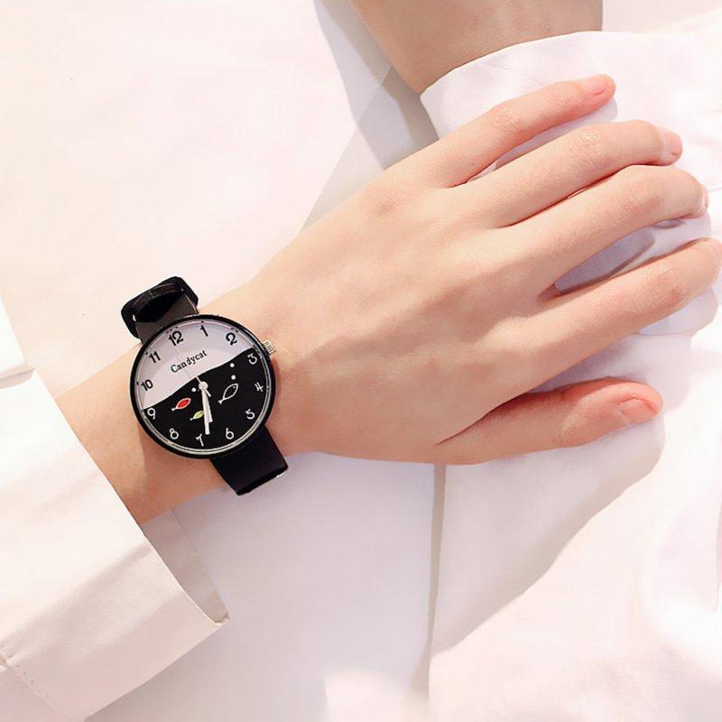 Fashion Simple Bright Colors Sweet Style Elagant Watch with Silica Gel Strap black