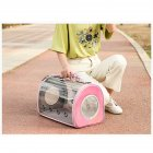 Fashion Space Capsule Pet Handbag Cat Box Transparent Bag Cage for Outdoor Pink_small