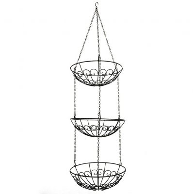 Fashion Space Saving 3Layers Iron Wire Fruit Basket for Storage black