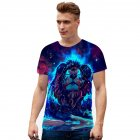 Fashion Summer 3D Animal Lion Printing Short Sleeve T-shirt for Men Women  white_M
