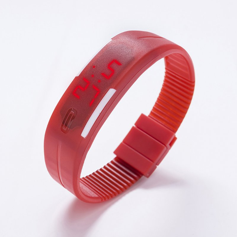 Fashion Top Brand Luxury Unisex Men's Watch Silicone Red LED Sport Watch Touch  red