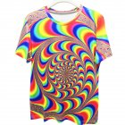 Fashion Unisex Colorful Dazzling 3D Digital Print Loose-fitting T-shirt as shown_M