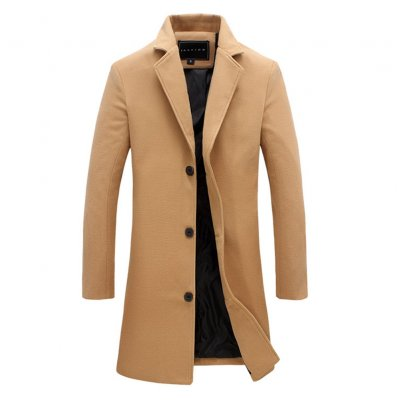 Fashion Winter Men's Solid Color Trench Coat