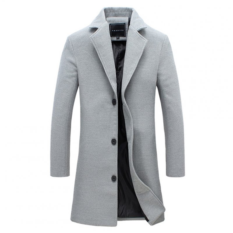 Fashion Winter Men's Solid Color Trench Coat Warm Long Jacket Single Breasted Overcoat gray_3XL