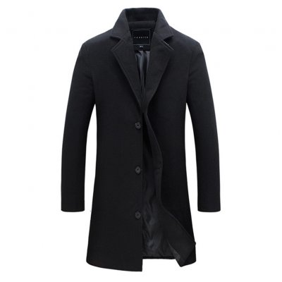 Men's Solid Color Trench Coat