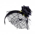 Fashion Women Girl Simulate Rose Flower Spider Web Mesh Hairbands for Halloween black