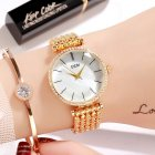 Fashion Women Waterproof Alloy Band Temperament Clock Bracelet Wrist Watch  Gold shell white plate