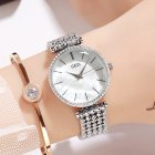 Fashion Women Waterproof Alloy Band Temperament Clock Bracelet Wrist Watch  Silver shell white plate