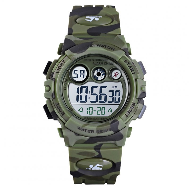 Fashion Wristwatch Electronic Children Watch For Outdoor Sports Multi-function Electronic Watch Army green camouflage