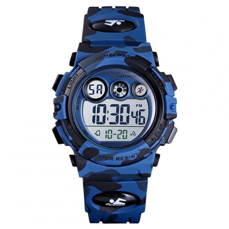 Fashion Wristwatch Electronic Children Watch For Outdoor Sports Multi-function Electronic Watch Dark blue camouflage