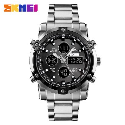 SKMEI Sports Watch - Silver shell black dial