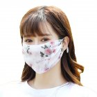Fashionable Chiffon Printed Sunscreen Summer Breathable And Washable Dustproof Mask Peony flower on white One size