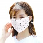 Fashionable Chiffon Printed Sunscreen Summer Breathable And Washable Dustproof Mask Love on white_One size