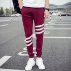 Fashionable Men Women Sports Pants Slim Fit Casual Sports Pants Red wine_XL