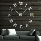 Fashionable Roman Numeral Wall Clock DIY Wall Ornament Home Office Hotel Decoration Gift  Silver