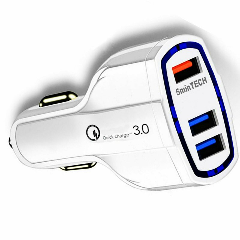 Fast Quick CAR Charger(3 ports)USB (16W / 5,9,12V / 3.2A) for Android iPhone white