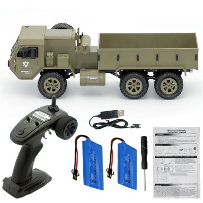 Fayee FY004A 1/16 2.4G 6WD Rc Car Proportional Control US Army Military Truck RTR Model Toys Without camera +2 batteries_1:16