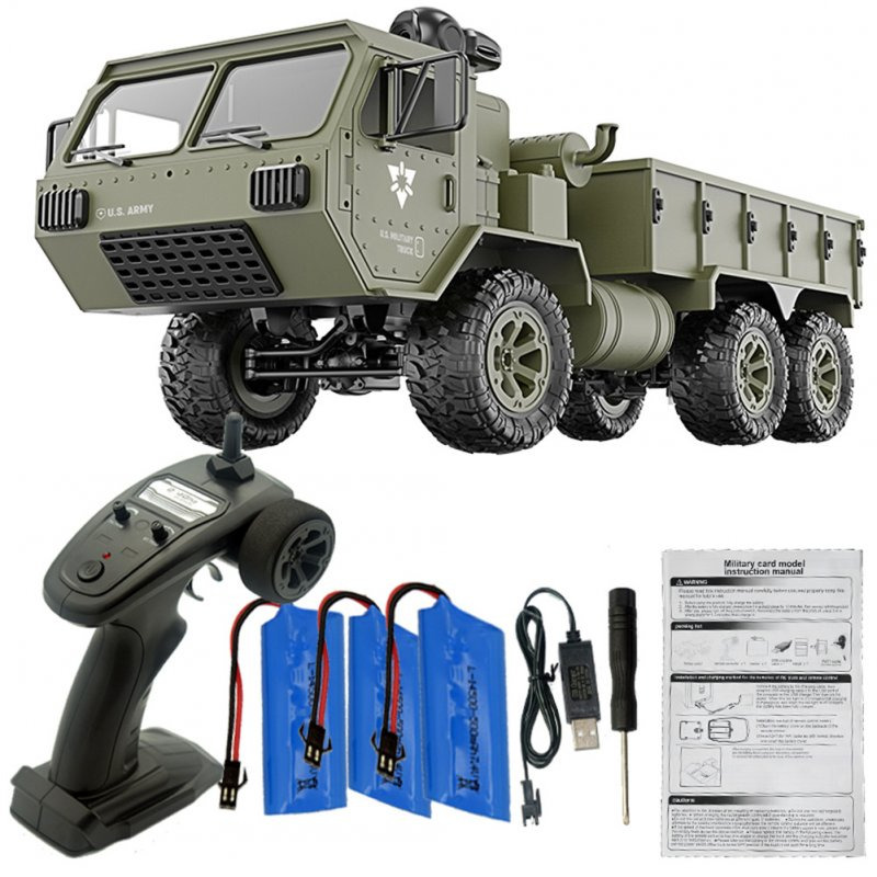 Fayee FY004A 1/16 2.4G 6WD Rc Car Proportional Control US Army Military Truck RTR Model Toys With camera+3 batteries_1:16