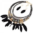 Feather Pendant Multi Layers Tribal Bib Necklace Statement Earring Jewelry SetMPR5