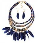 Feather Pendant Multi Layers Tribal Bib Necklace Statement Earring Jewelry Set