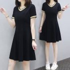 Female Chic Summer Pure Color Loose Short Sleeves Mid-length Dress black_3XL