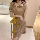 Female Elegant Plaid Slim Dress Lapel Collar Sweet Dress  khaki stripes_One size