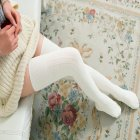 Female Enlarged Boot Socks Soft Cotton Over Knee Stocking Milk white_One size / length 74 cm