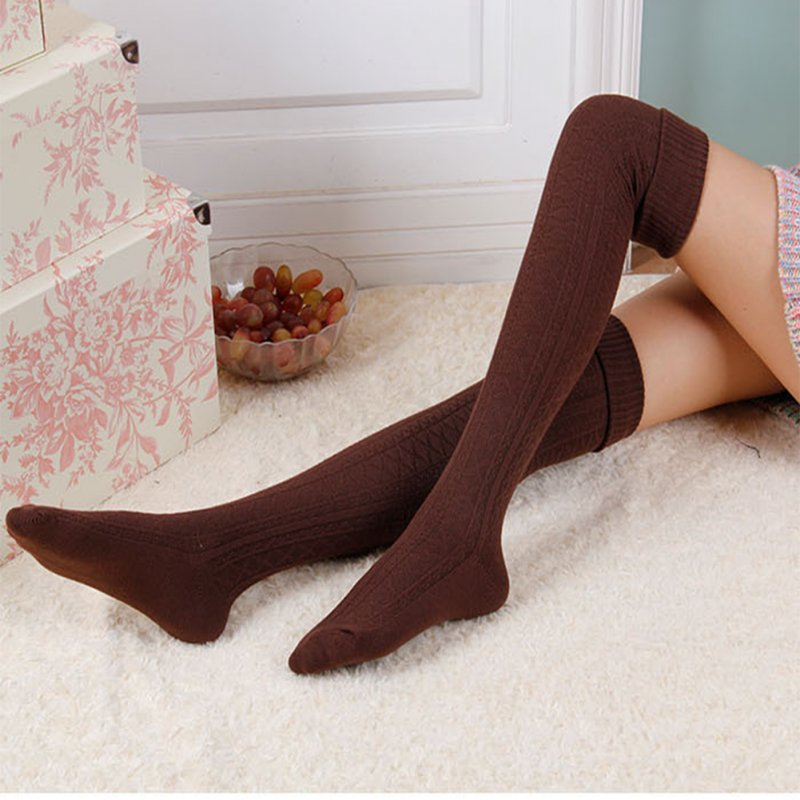 Female Enlarged Boot Socks Soft Cotton Over Knee Stocking coffee_One size / length 74 cm